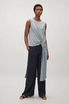 COS image 1 of Long sleveless drape top in Grey