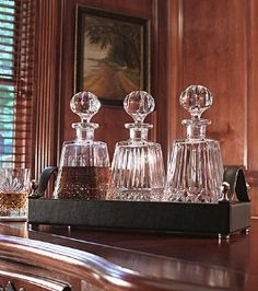 Waterford Masterworks Decanter Set with Black Waterford Leather Tray. I would use for my cooking wines and oils counter top. Crystal Stemware, Waterford Crystal, Leather Tray, Whiskey Decanter, Vintage Bar, Perfume, Cut Glass, Liquor, Cheap Wine