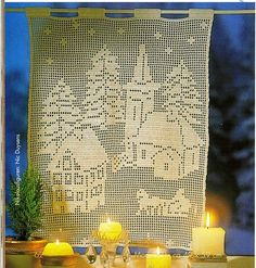 Holiday town curtain filet work with diagram