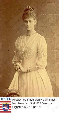 Princess Alix of Hesse and by Rhine, future Empress Alexandra of Russia; Tsar Nicolas Ii, Tsar Nicholas, Queen Victoria Family, Princess Alice, Empire, Alexandra Feodorovna, Princess Alexandra, 1880s Fashion, Royals