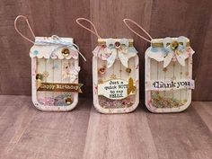Thanks you all for stopping by! This is a design team project from The Cutting Cafe. I hope you enjoy the tutorial and try out the shakers! Hugs, Tmika The . Mason Jar Cards, Mason Jar Diy, Jar Crafts, Craft Stick Crafts, Card Tags, Gift Tags, Pot A Crayon, Creation Deco, Shaker Cards