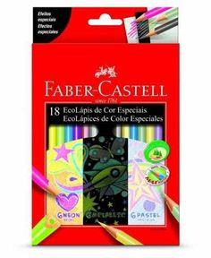 lapis de cor 18 cores metalizado neon pastel faber castell