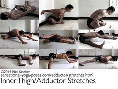 Stretches for the inner thighs (adductors) including bound angle, hurdlers stretch, half split and full split. http://sensational-yoga-poses.com/adductor-stretches.html