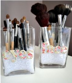 Great idea- clear containers (found anywhere dollar tree to Marshall's) find stick on letters (arts/ crafts isle anywhere walmart to hobby lobby) glass fillers (rocks - sand) and place make-up brushes in!!