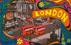 Piccadilly Circus taken circa 1967 that reflects the spirit of Swinging London. Hippie Style, Hippie Art, London Postcard, Swinging London, London Films, Piccadilly Circus, Vintage London, London Calling, Looks Cool