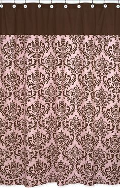 Pink Shower Curtains Retro Bathrooms Brown Bath Towels Damask House Styles Bathroom Ideas Feels Mad