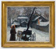 Lot 311- Carl Otto Holm (1885-1918 Massachusetts) ''Artist in Winter'' 1915 Oil on Canvas 22.5''x27.5'' Image. An impressive impressionist winter scene painting with artist painting in foreground. Signed and dated l.r. Houses in ornate gilt frame with a total size of 30''x35''.