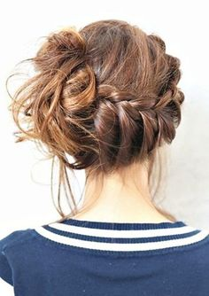 Adorable Messy Braided Updo Hairstyle