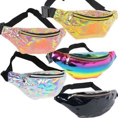 5 Eye catching shiny iridescent holographic colors to choose from. Carry extra stuff around your waist to keep your hands free. Lightweight and comfortable designed to carry phone, snacks, keys, wallet, sunscreen and more. Waist Purse, Waist Pouch, Fany Pack, Coachella Outfit Men, Cute Fanny Pack, Moda Streetwear, Medium Bags, Cute Bags, Purses And Bags