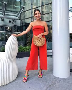 Red Culotte Jumpsuit // Summer Date Night Style