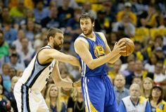 Description of . MEMPHIS, TN - MAY 15: Marc Gasol #33 of the Memphis Grizzlies defends Andrew Bogut #12 of the Golden State Warriors during Game six of the Western Conference Semifinals of the 2015 NBA Playoffs at FedExForum on May 15, 2015 in Memphis, Tennessee.  NOTE TO USER: User expressly acknowledges and agrees that, by downloading and or using this photograph, User is consenting to the terms and conditions of the Getty Images License Agreement  (Photo by Andy Lyons/Getty Images)