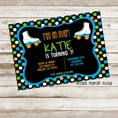 Roller Skating Party, Skate Party, Birthday Party Invitations, Birthday Cake, Etsy Shop, Awesome, Handmade Gifts, Design, Kid Craft Gifts