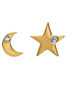 Star and Moon Earrings 10 Karat Yellow Gold