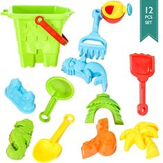 BIG Sand Bucket 12Pcs Molds  Tools for Sand Boxes Water Tables Beach Bath Tub Pool or Kinetic Sand Toys For Baby Kid and Toddler *** Details can be found by clicking on the image.Note:It is affiliate link to Amazon.