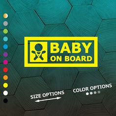 Baby//Child On Board Car Sign ~ Baby Face Silhouette ~ Neon Green