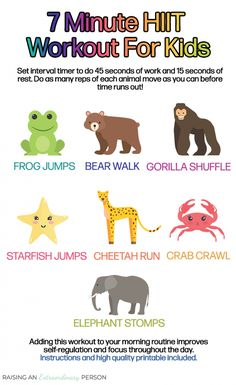 This fun animal themed workout will get your kids moving, and provide a powerful dose of sensory input. Add this to your morning routine to improve self-regulation , focus, and learning throughout the day. Or try it afterschool, too! for kids Gross Motor Activities, Sensory Activities, Preschool Activities, Physical Activities, Health Activities, Animal Activities, Fitness Activities, Family Activities, Emotional Regulation