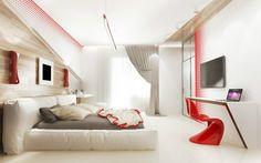 une chambre à coucher blanche et moderne aux accents gris et rouges