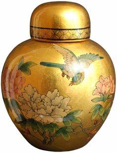 Porcelain 13-Inch Gold Ginger Jar Porcelain Vase Handmade Home Decor #vase
