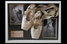 I've been trying to figure out what to do with all of Emma's old pointe shoes, I like this shadow box idea as a way to save her first pair.