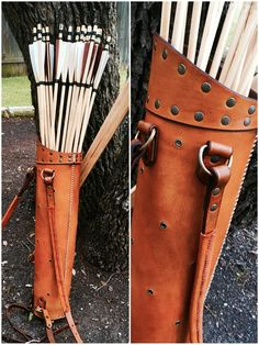 Custom-made leather back quiver for traditional archery. Two adjustable straps allow it to be worn over-the-shoulder or like a backpack. Holds up to 20 arrows and accessories like a glove, tab, and/or stringer.