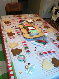 Christmas cookie decorating party...what a cute idea! I like that everyone has their own decorations.