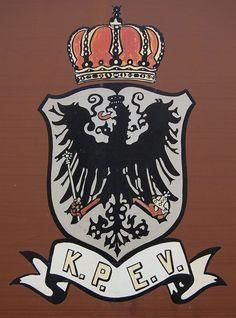 Royal Prussian Railway Administration (Königlich Preußische Eisenbahn-Verwaltung) or KPEV. Emblem on a Prussian luggage van