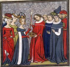 Grandes chroniques de France (Paris, XIVe-XVe siècles),  Paris, Bibliothèque Nationale, Fr.73, f°163, « Louis II le Bègue recevant les Regalia »