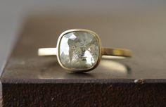 Image of Natura Rose Cut Grey-Green Diamond Ring Green Diamond Rings, Gold Rings, Gemstone Rings, Green And Grey, Cufflinks, Rings For Men, Gemstones, Rose, Accessories