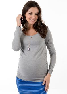 1d6f37e787310 Queen Bee It Must Be Fate Long Sleeve Maternity Tee in Grey by Trimester  Maternity Leggings
