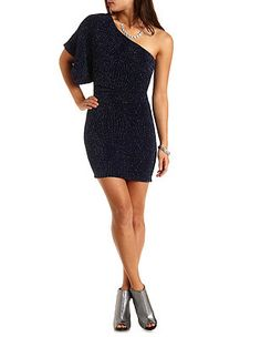 Glitter Bodycon One Shoulder Dress: Charlotte Russe