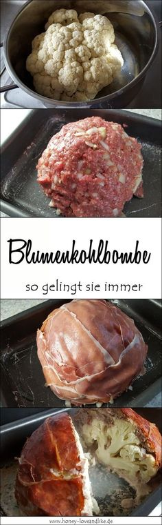 Today it gets low carb with the cauliflower bomb - really licking .- Heute wird es Lowcarb mit der Blumenkohlbombe – richtig lecker A cauliflower bomb that will surely surprise you … - Low Carb Desserts, Low Carb Recipes, Cooking Recipes, Healthy Recipes, Low Carb Keto, Food Inspiration, Chicken Recipes, Food Porn, Food And Drink