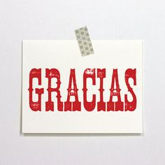 spanish notes gracias by REDSTARink on Etsy, $8.00