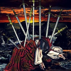 Ten of Swords ~ Tarot Illuminati ~ on deviantART Illuminati, King Of Swords Tarot, Knight Of Wands, She Wolf, Tarot Readers, Major Arcana, Character Description, Tarot Decks, Archetypes