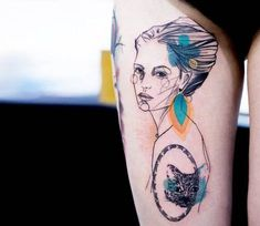 Very pretty 3 colors abstract tattrx tattoo style of Woman portrait motive done by artist Marta Lipinski Drawing Female Body, Business Outfits Women, Female Portrait, Woman Portrait, Light Blue Dresses, Creative Tattoos, Trendy Clothes For Women, Color Tattoo, Traditional Tattoo