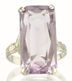 11ct Emerald Cut Light Purple Amethyst Cocktail Ring Emerald Cut, Purple Amethyst, Semi Precious Gemstones, Light Purple, Cocktail Rings, Jewelry Crafts, Fields, Fashion Jewelry, Diamond