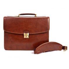 Parma Double Compartment Brief Front With Shoulder Strap Brown Laptop Briefcase, Parma, Shoulder Strap, Stylish, Brown, Classic, Leather, Bags, Men