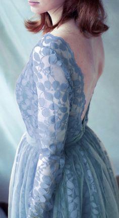 Lace evening dress, pale blue