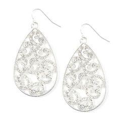 Rhinestone Paisley Filigree Teardrop Drop Earrings | Icing