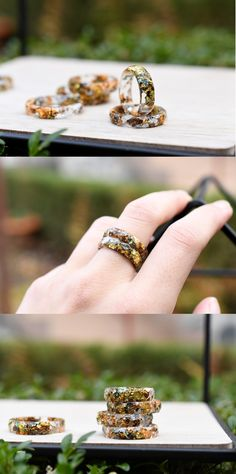 Transparent Ring With Mixed Metallic Flakes - Thin Resin Ring - Alternative Ring - Resin Jewelry Handmade Art, Handmade Jewelry, Handmade Items, Total Girl, Raw Stone Jewelry, Resin Jewelry Making, Resin Ring, Etsy Jewelry, Jewelery