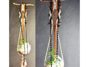 Vintage Macrame Fiber Art Rope Large Hanging Planter