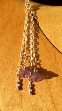 Cute dangley purple flower earrings