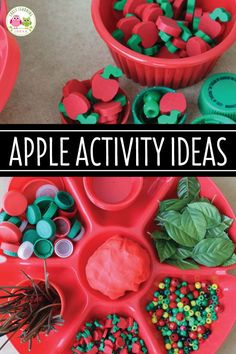 Let your kids create their own apple activities. Give them play dough and a variety of apple theme materials. They will love this fun invitation to play. Playdough Activities, Pre K Activities, Autumn Activities For Kids, Preschool Apple Theme, Preschool Apple Activities, Preschool Apples, Apple Unit, Kindergarten, Autumn Theme