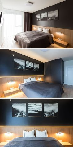 In this modern bedroom, a black wall has black and white photography as art work, while wood runs along the bottom half of the wall and creates a headboard for the bed. Hidden lighting and bedside lighting create a soft ambient lighting for the room. #ModernBedroom #BlackWall #WoodHeadboard