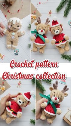 Ginger bread, reindeer and Christmas teddy crochet pattern Crochet Santa, Christmas Crochet Patterns, Crochet Christmas Ornaments, Crochet Animal Patterns, Noel Christmas, Crochet Patterns Amigurumi, Crochet Dolls, Free Crochet, Crochet Crafts