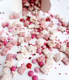 Valentine's Day Strawberries and Cream Puppy Chow – make other flavones too