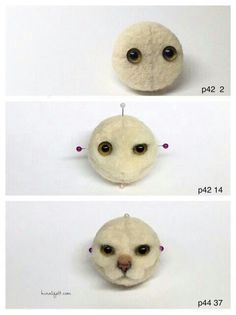 Needle felted cat face tutorial