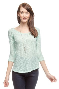 Ya 3/4 Sleeve Knit Top with Slub Detail #bazarchicago #chicagoboutique #top #knit #knittop #sweater #knitsweater #ya #yalosangeles @yalosangeles
