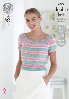 Ladies Top knitted with Self striping Cottonsoft Crush DK - King Cole