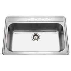 HOUZER Premiere Gourmet Series Drop-in Stainless Steel 33 in. 4-Hole Single Bowl Kitchen Sink-PGS-3122-4-1 - The Home Depot