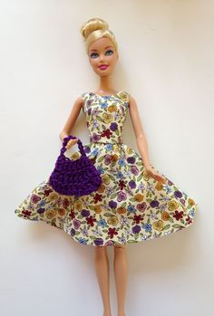 Handmade Barbie Clothes SPECIAL Dress Handbag Tote by All4U, $5.00